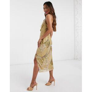 Virgos Lounge - Guldfarvet midikjole med gennemgående udsmykning og slids Guld