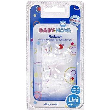 Baby-Nova Flaskesut Rund 0-24 Mdr. Str. Uni 2 stk