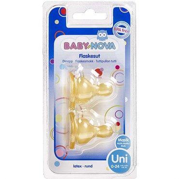 Baby-Nova Flaskesut Rund Mlk 0-24 Mdr. Str. Uni 2 stk