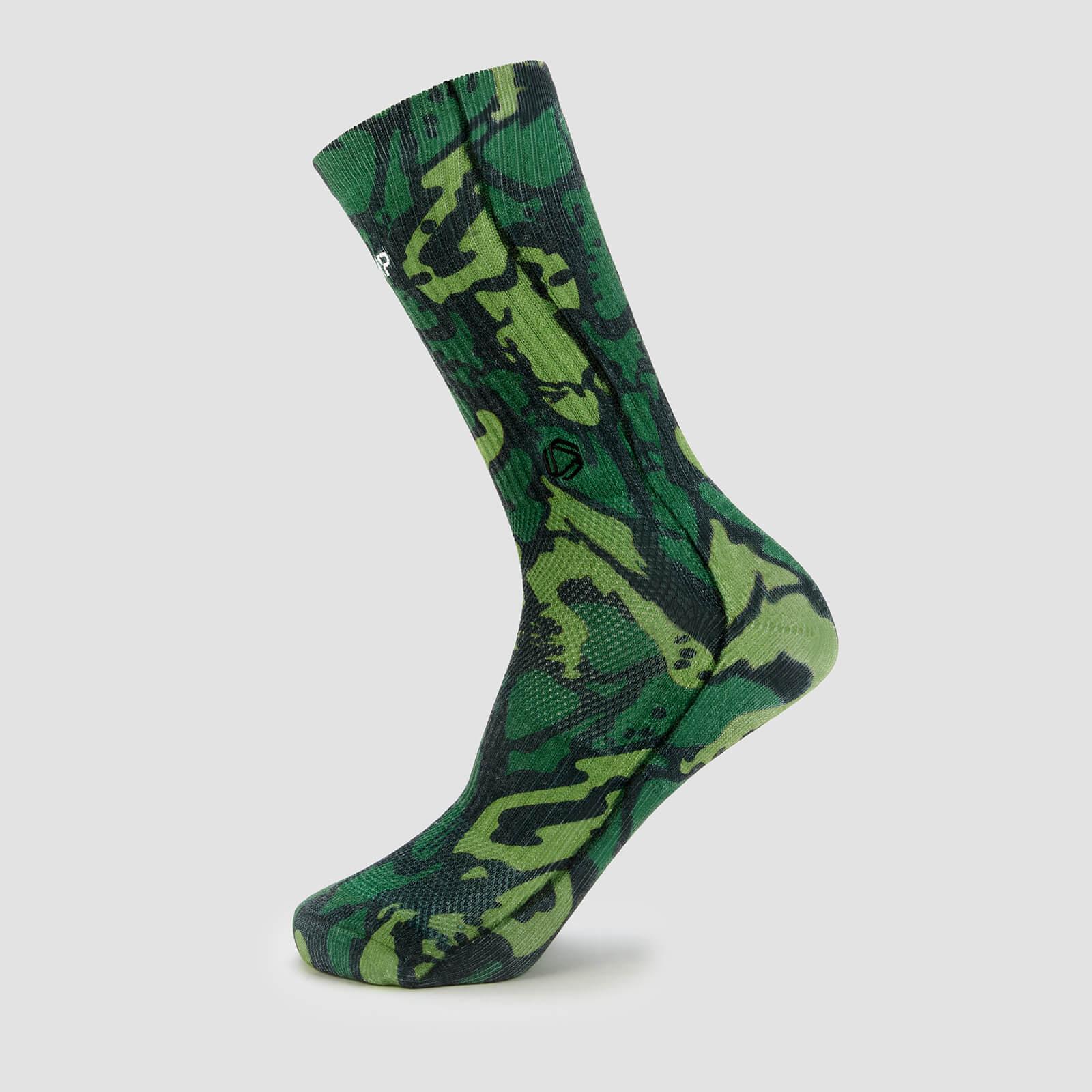 Mp X Hexxee Adapt Crew Socks- Green Camo - Womens Uk 4-7