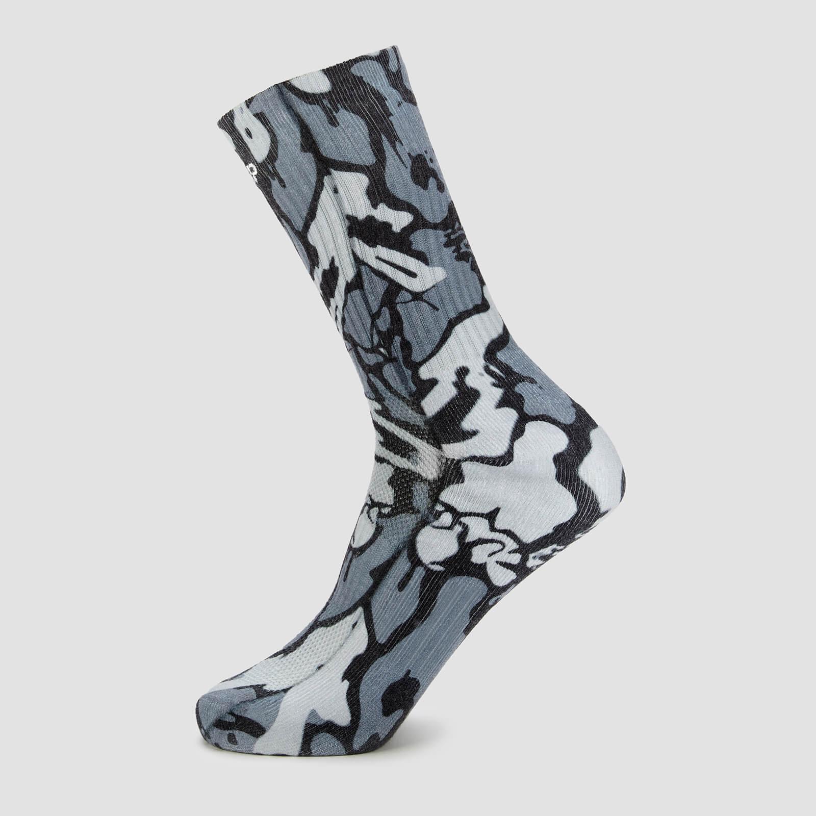 Mp X Hexxee Adapt Crew Socks - Grey Camo - Womens Uk 4-7