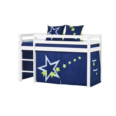 Hoppekids - BASIC Halvhøj seng med skummadreas + madrasbetræk + forhæng 70x160 - Blue Star - Babymøbler - Hoppekids