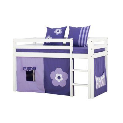 Hoppekids - BASIC Halvhøj seng med skummadreas + madrasbetræk + forhæng 70x160 - Purple Flower - Babymøbler - Hoppekids