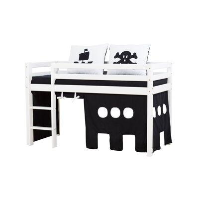 Hoppekids - BASIC Halvhøj seng med skummadreas + madrasbetræk + forhæng 70x160 - Pirat - Babymøbler - Hoppekids