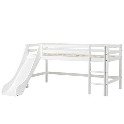 Hoppekids - BASIC Halvhøj seng med rutsjebane 90x200 cm - Hvid - Babymøbler - Hoppekids