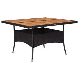 vidaXL udendørs spisebord polyrattan og massivt akacietræ sort