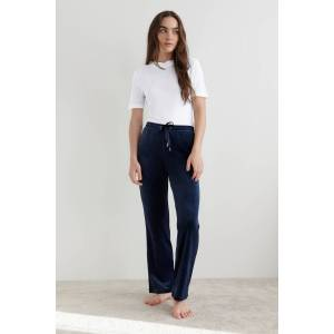 Gina Tricot Cecilia velour trousers XL Female Evening blue (5370)