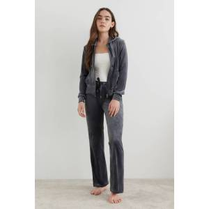 Gina Tricot Cecilia velour trousers XS Female Dark grey (9018)