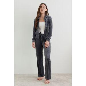 Gina Tricot Cecilia velour trousers XL Female Dark grey (9018)