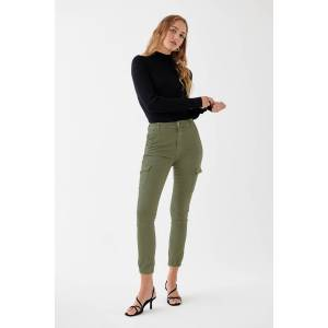 Gina Tricot Slim cargo pants 34 Female Cargo green (6950)