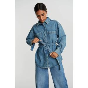 Gina Tricot Belted denim shirt S Female Mid blue