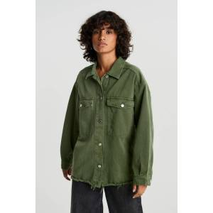 Gina Tricot Shirt denim jacket S Female Bronze green (6048)