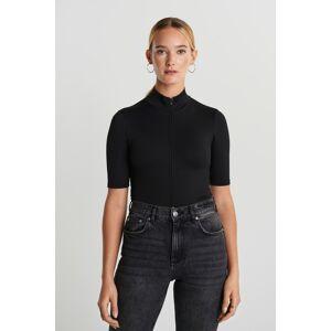 Gina Tricot Nicki cropped zip top L Female Black (9000)