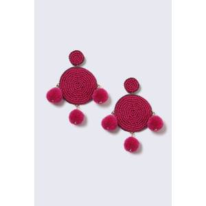 Gina Tricot Pink Beaded and Pom Pom Statement Earrings Spr seedbd pom  fuchsia one size Female Fuchsia