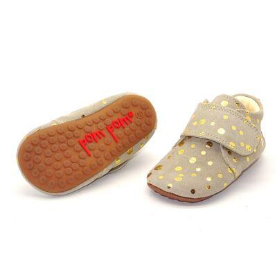 Pompom Hjemmesko med velcro - Beige Gold Dot - Baby Spisetid - Pompom