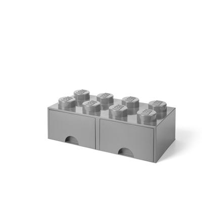 Lego Opbevaringsskuffe Brick 8 - Medium Stone Grå - Baby Spisetid - Lego