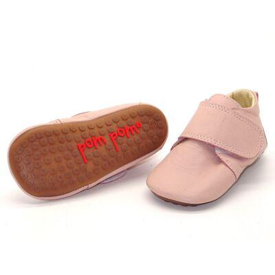 Pompom Hjemmesko med velcro - Rose - Baby Spisetid - Pompom