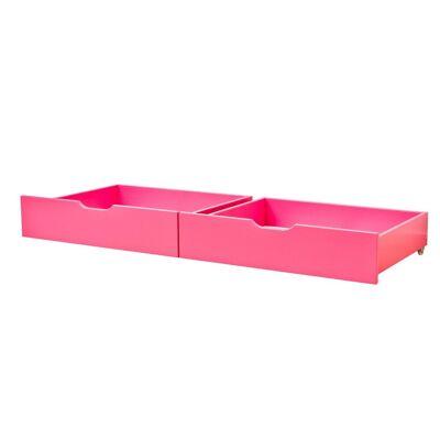 Hoppekids Skuffesæt På Hjul - 70x160 Cm - 2 stk - Fandango Pink - Baby Spisetid - Hoppekids