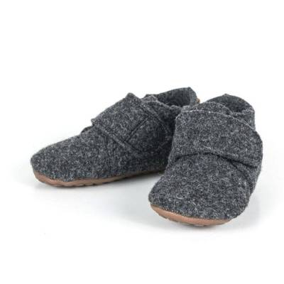 Pompom Hjemmesko Med Velcro - Antrasit Wool - Baby Spisetid - Pompom