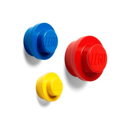 Lego Væg Knop Sæt - Rød, Blå og Gul - Baby Spisetid - Lego