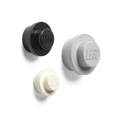 Lego Væg Knop Sæt - Grå, Sort og Hvid - Baby Spisetid - Lego