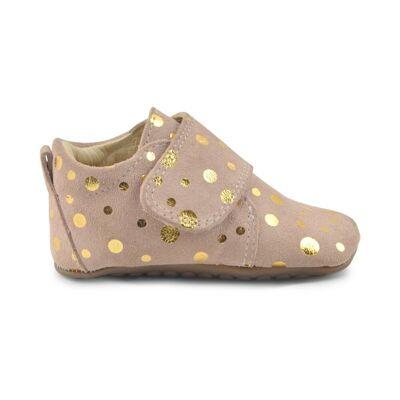 Pompom Velcro Hjemmesko - Peach Gold Dot - Baby Spisetid - Pompom