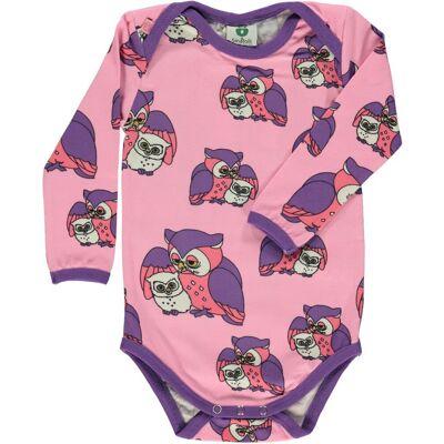 Småfolk Body Med Ugler - 526 Sea Pink - Børnetøj - Småfolk