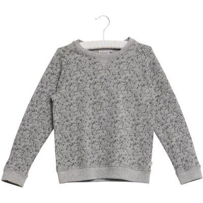 Wheat Elvis Sweatshirt Med AOP Mini - 0224 M.Grey - Børnetøj - Wheat