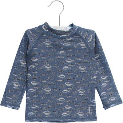 Wheat Dilan Langærmet Bade T-shirt - 1174 Bering Sea - Børnetøj - Wheat