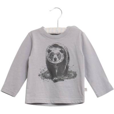 Wheat Langærmet T-Shirt Med Bjørn Baby - 1228D.Dove - Børnetøj - Wheat