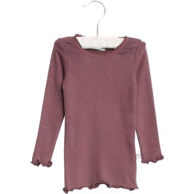 Wheat Langærmet Rib T-Shirt Blonde - 3374 Soft Eggplant - Børnetøj - Wheat
