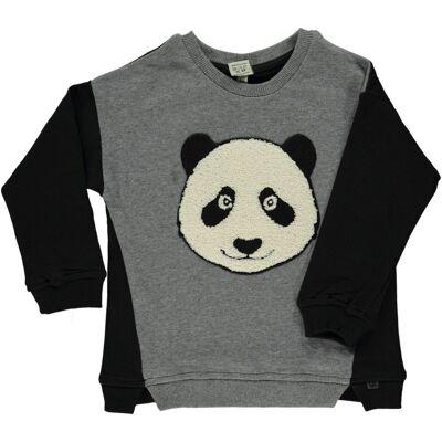Småfolk Sweat Shirt Med Panda - M.Grey Mix - Børnetøj - Småfolk