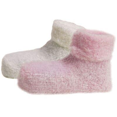 Melton 2-Paks Plys Baby Strømper - Baby Pink/504 - Børnetøj - Melton
