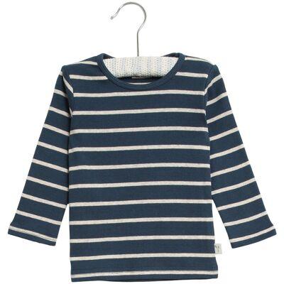 Wheat Stribet Langærmet T-Shirt - 1324 Indigo - Børnetøj - Wheat