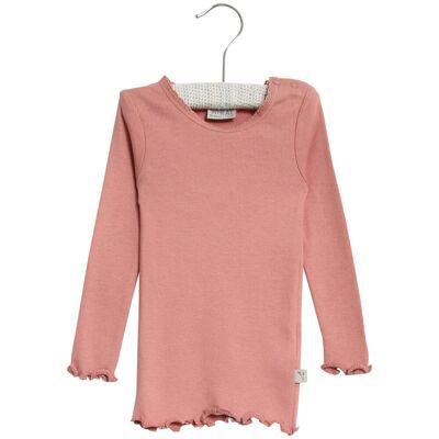 Wheat Langærmet Rib T-Shirt Blonde - 2607 Soft Rouge - Børnetøj - Wheat