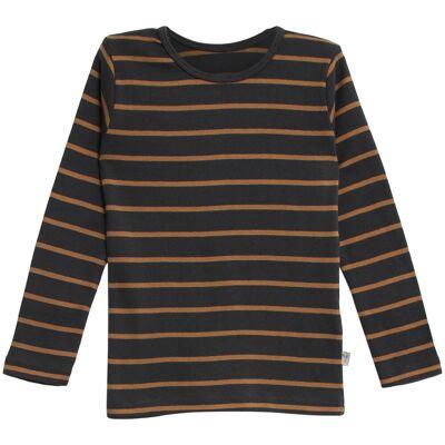 Wheat Langærmet Stribet T-Shirt - 5073 Caramel - Børnetøj - Wheat