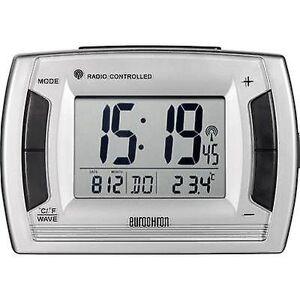 Eurochron RC 236 Radio Alarm ur sølv, sort Alarm gange 2