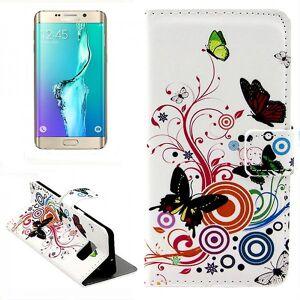 Wigento Tegnebog Deluxe taske mønster 2 for Samsung Galaxy S6 kant plus G928 F