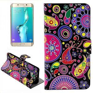Wigento Tegnebog Deluxe taske mønster 8 for Samsung Galaxy S6 kant plus G928 F