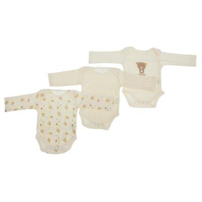 Universal Textiles Baby Unisex bamse mønster langærmet Bodyer (pakke med 3) - Børnetøj - Universal Textiles