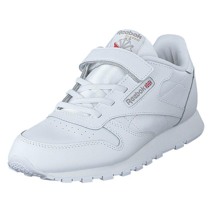Reebok Classic Cl Lthr 1v White/carbon/vecblu, Børn, Sko, Sneakers, Blå, EU 28