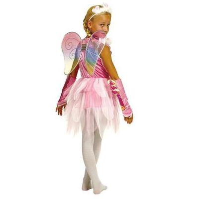 Funny Fashion Karnevalskostume fe i lyserød - rosa/pink - Gr.128 - Dreng/Pige - Baby Spisetid - Array