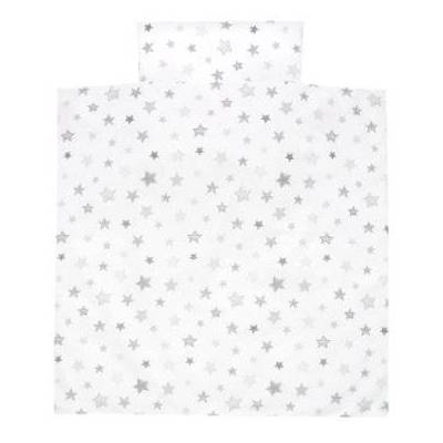 Alvi Sengetøj 80 x 80 cm, Stjerner sølvgrå eksklusiv - hvid - Baby Spisetid - Array