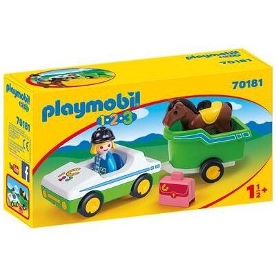 Playmobil ® 1 2 3 bil med hestetrailer 70181 - Baby Spisetid - Playmobil
