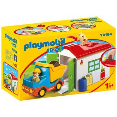 Playmobil ® 1 2 3 lastbil med sorteringsgarage 70184 - Baby Spisetid - Playmobil
