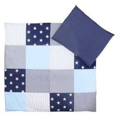Ullenboom Børnesengetøjs-Sæt Blå Grå 80 x 80 cm + 35 x 40 cm - flerfarvet - Baby Spisetid - Array