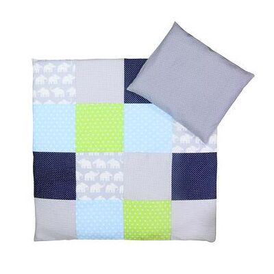 Ullenboom Børnesengetøjs-Sæt Elefant Blå Grøn 80 x 80 cm + 35 x 40 cm - flerfarvet - Baby Spisetid - Array