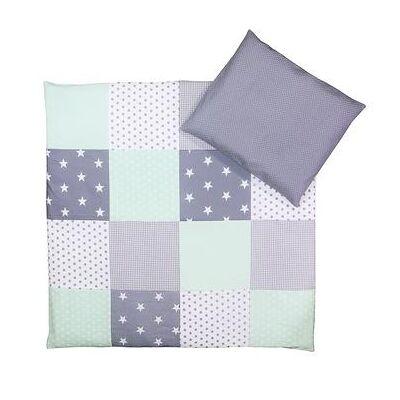 Ullenboom Børnesengetøjs-Sæt Mint Grå 80 x 80 cm + 35 x 40 cm - flerfarvet - Baby Spisetid - Array