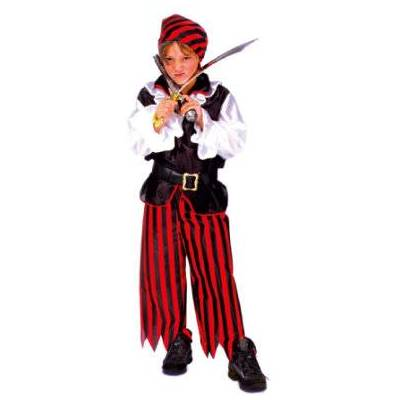 Funny Fashion Karnevallskostume piratdreng Jacky - sort - Gr.128 - Dreng - Børnetøj - Array