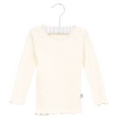 Wheat Rib Shirt Lace ivory - hvid - Gr.fra 3 år - Pige - Børnetøj - Array
